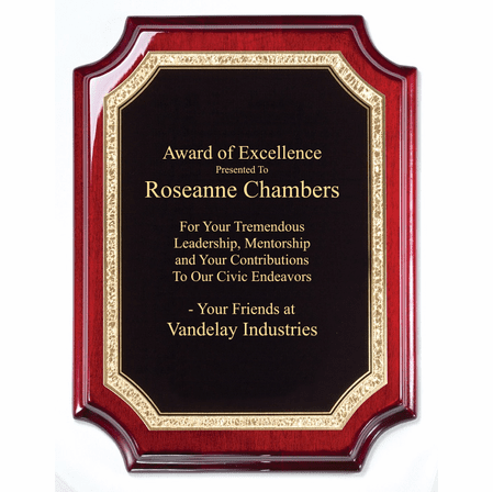 Personalized Beveled Corner Rosewood Plaque With Gold Border