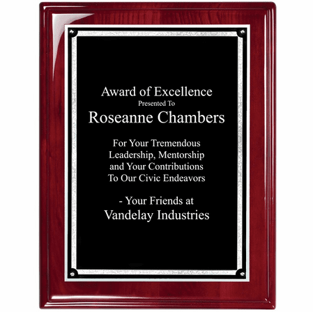 Personalized Beveled Corner Rosewood Plaque With Silver Border
