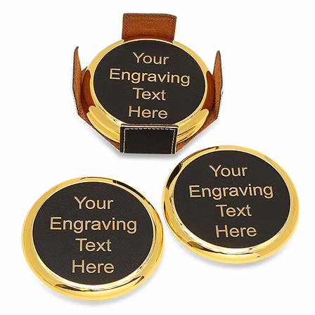 Personalized Black And Gold Round Coaster Set