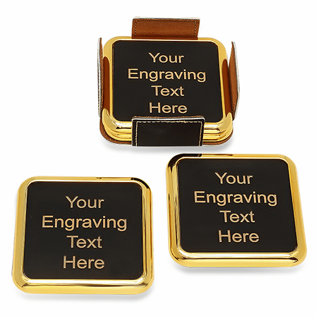 Personalized Black And Gold Square Coaster Set