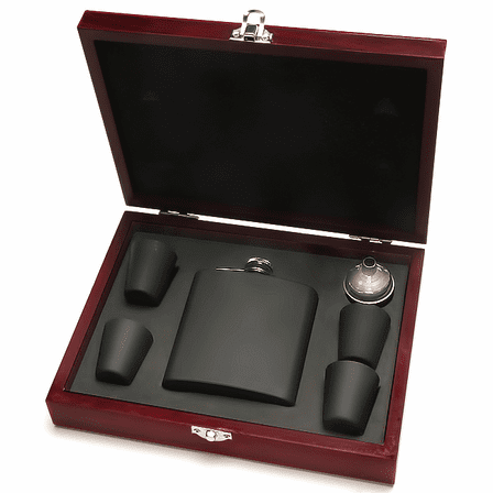 Personalized Black Flask Set with Wooden Box