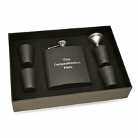 Personalized Black Flask & Shot Cups Gift Set