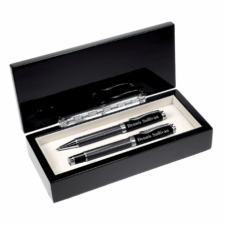 Personalized Black Glass Double Pen Set