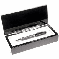 Personalized Black Glass Single Pen Set