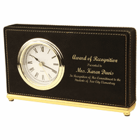 Personalized Black & Gold Horizontal Desk Clock