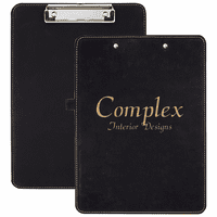 Personalized Black & Gold Leatherette Clipboard