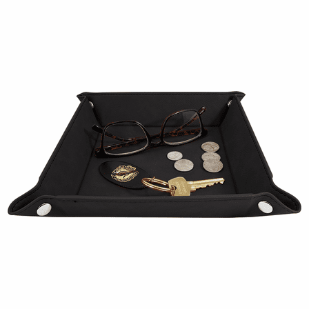 Personalized Black & Gold Men's Valet Tray with Folding Snaps