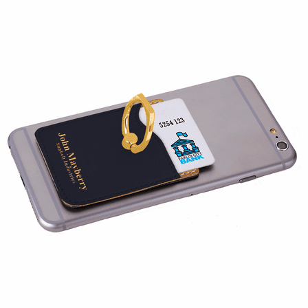 Personalized Black & Gold Phone Wallet with Ring