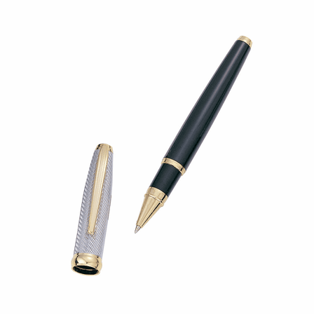 Personalized Black & Gold Rollerball Pen
