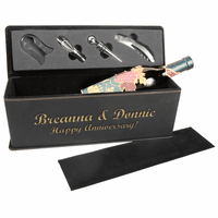 Personalized Black & Gold Wine Bottle Box With Tools