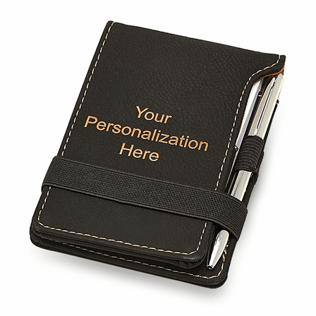 Personalized Black Leatherette Notepad & Pen