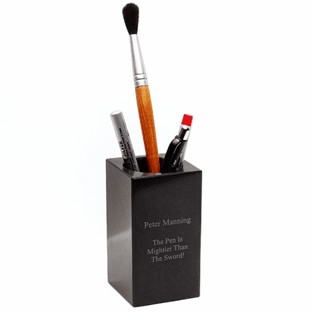 Personalized Black Marble Pen Holder