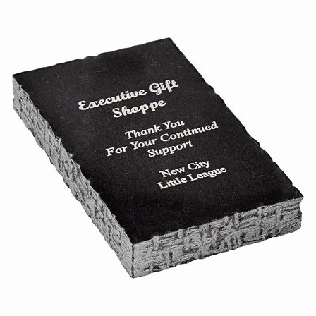 Personalized Black Marble Rectangle Paperweight