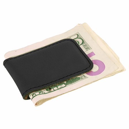 Personalized Black & Silver Magnetic Money Clip