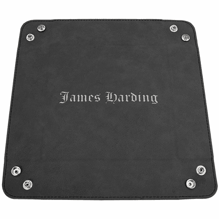 Personalized Black & Silver Men's Valet Tray with Folding Snaps