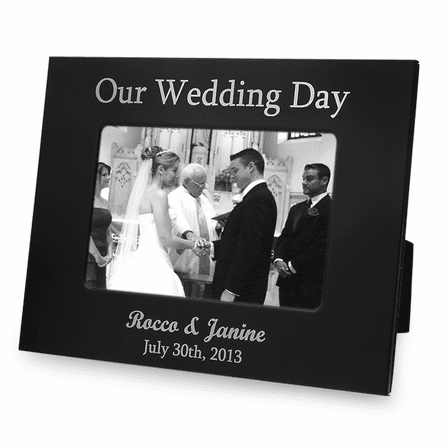 Personalized Black & Silver Our Wedding Day Picture Frame