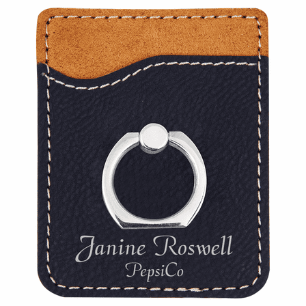 Personalized Black & Silver Phone Wallet with Ring