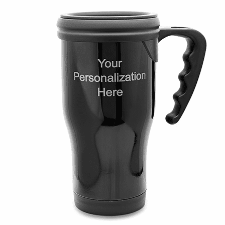 Personalized Black Travel Coffee Mug With Handle