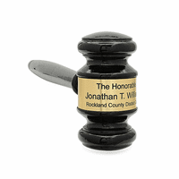 Personalized Black Wood Gavel With Gold Band