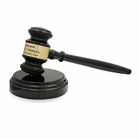 Personalized Black Wood Gavel With Gold Band & Sounding Block