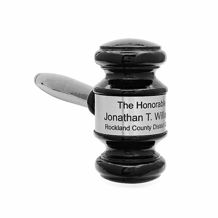Personalized Black Wood Gavel With Silver Band & Sounding Block