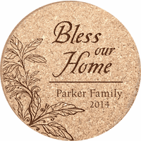Personalized Bless Our Home Cork Drink Coaster Set