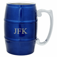 Personalized Blue Beer Barrel Mug