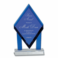 Personalized Blue Crystal Diamond Plaque With  Crystal Base