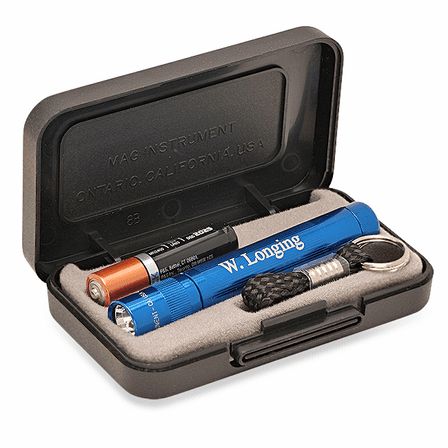 Personalized Blue Maglite Solitaire Gift Set