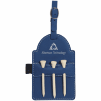 Personalized Blue & Silver Golf Bag Tag with Tees