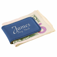 Personalized Blue & Silver Magnetic Money Clip