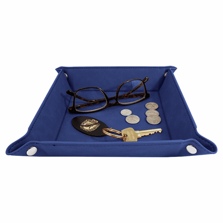 Personalized Blue & Silver Men's Valet Tray with Folding Snaps