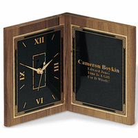 Personalized Book Style Walnut  Clock