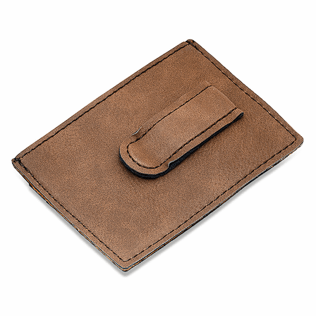 Personalized Brown Leatherette Money Clip & Credit Card Holder