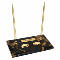 Personalized Bull & Bear Double Pen Stand