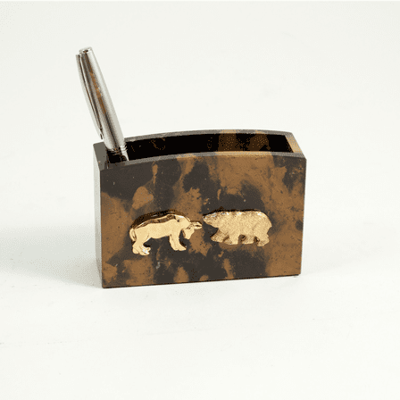 Personalized Bull & Bear Pen & Pencil Cup