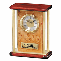 Personalized Burl Piano Finish Desk Clock With Columns