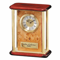 Personalized Burl Piano Finish Desk Clock With Columns - Discontinued