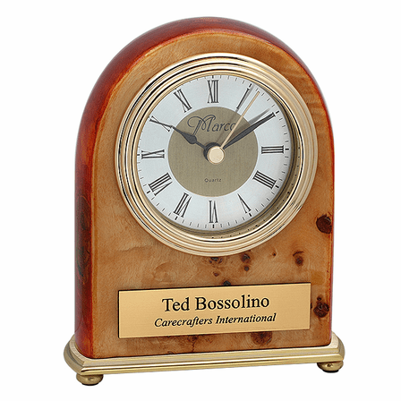 Personalized Burl Piano Finish Dome Style Desk Clock