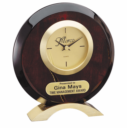 Personalized Circular Rosewood Desk Clock