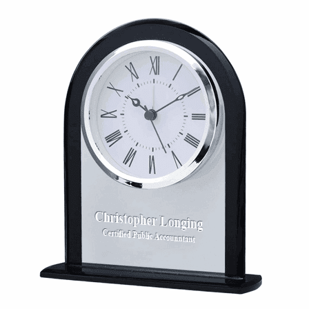Personalized Clear & Black Crystal Dome Desk Clock
