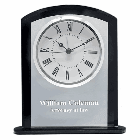 Personalized Clear & Black Crystal Square Dome Desk Clock