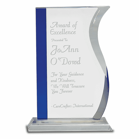 Personalized Clear & Blue Crystal Desktop Award
