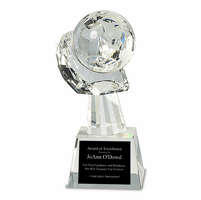Personalized Cradled Crystal Globe Recogntion Award