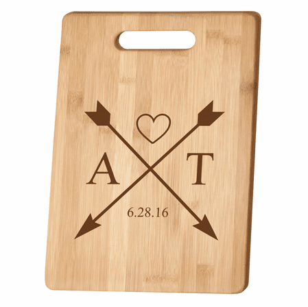 Personalized Crossing Arrows Bamboo Cutting Board