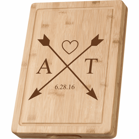 Personalized Crossing Arrows Grooved Bamboo Cutting Board