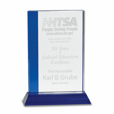 Personalized Crystal  Award with Blue Base