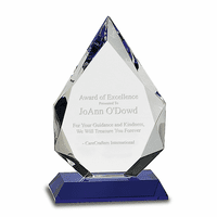 Personalized Crystal Diamond Plaque With Blue Crystal Base