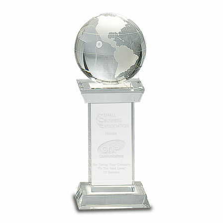 Personalized Crystal Globe And Pedestal