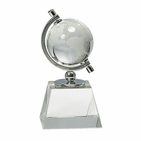 Personalized Crystal Globe On Clear Crystal Pedestal